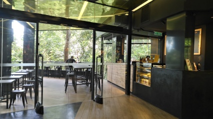 Glass doors to cafe