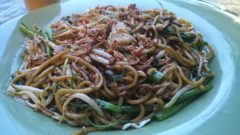 Big Plate of Fried Noodles with chicken and greens