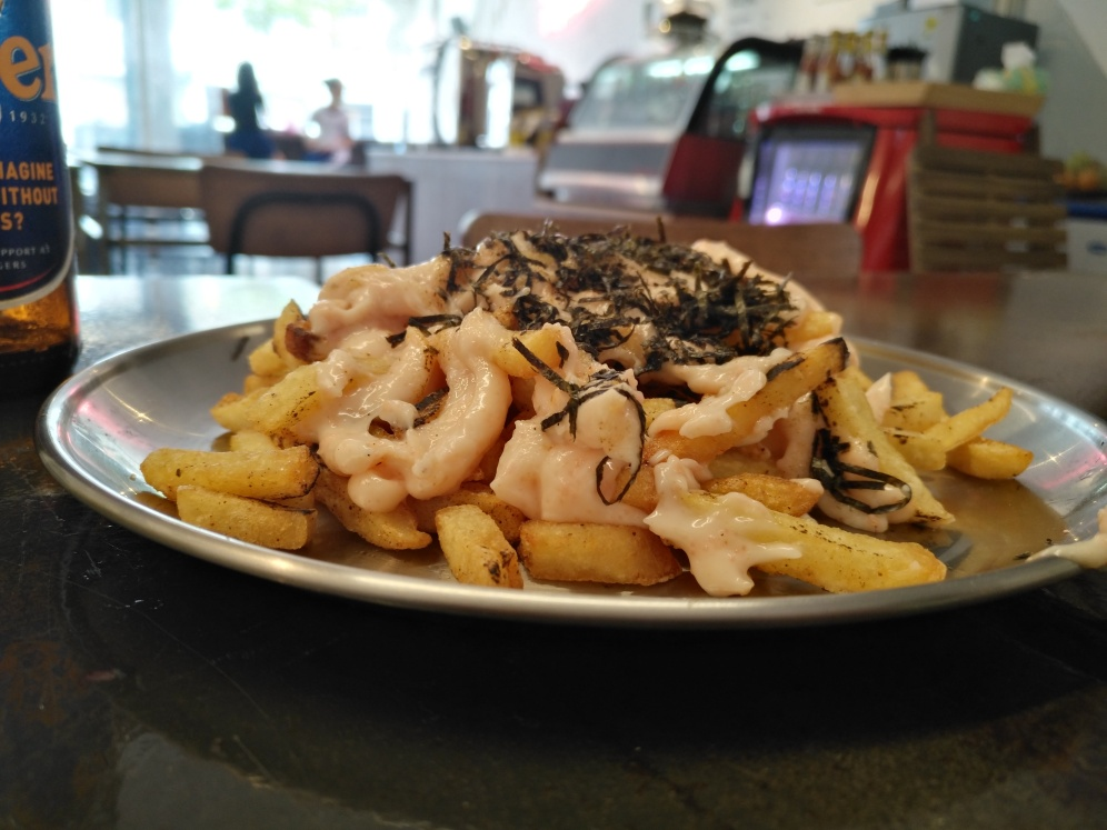 Fries with Torched Fish Roe Mayo and seaweed flakes, a Japanese twist to fries