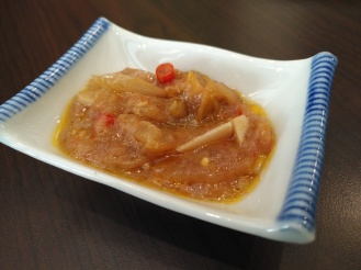 Nyonya sambal (home made sweet chilli sauce for dipping and taste)